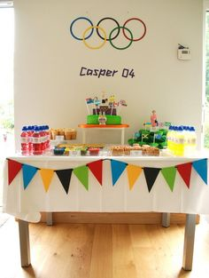 Casper An Olympic Birthday Party olympics-themed party Olympic Idea, Boy Birthday, Birthday Parties, Skate Party, Camping Crafts, Deco Table, Party Games, Holiday Parties, Birthdays