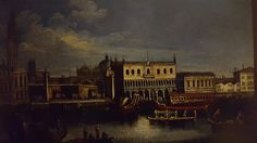 GAETANO VETTURALI ( Lucca 1701 - 1783). VIEW OF THE PALAZZO DUCALE FROM THE LAGOON IN FRONT OF ST. MARK'S SQUARE. oil on canvas. 32 × 54 cm. Tornabuoni Arte. Florence. Olds Paintings. October 2007.