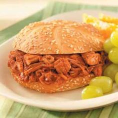 Slow cooker Pulled pork recipe - it was awesome! (I added about 1/2 cup BBQ sauce when it was done)