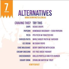 Here are some delicious, guilt free and healthy alternatives to your favourite fatty foods! So simple!  www.skinnymetea.com.au