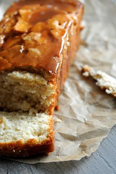 Honey Crisp Apple Cider Caramel Glazed Pound Cake; Perfect for gatherings!