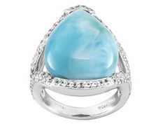 Pear Shape Cabochon Larimar With .34ctw Round White Topaz Sterling Silver Ring