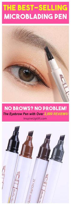 """The """"Waterproof Microblading Pen"""" is a new-concept, four-tip pen that colors each eyebrow with a long wearing, super natural look that lasts all day, without smudging! The unique 4-tip applicator allows you to create a more hair-like, natural brow appearance. Obtain beautifully polished eyebrows using the selection of shades to find one that matches your hair color. When the color wears out after two or three days, simply retouch them and maintain the color.  Currently 50% OFF with FREE Shipping"""