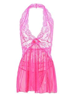 Vilania Women Sexy Lingerie Diaphanous Lace Chemise Nightgown With V-string at Amazon Women's Clothing store: