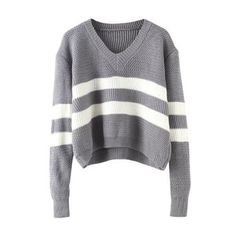 V Neck Striped Grey Sweater ($16) ❤ liked on Polyvore featuring tops, sweaters, shirts, grey, grey shirt, striped sleeve shirt, gray sweater, grey long sleeve shirt y v neck sweater