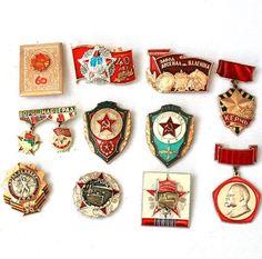Soviet Vintage Badges - Set of 11 Pins - Communist Socialist Propaganda / USSR - from Russia / Soviet Union. via Etsy.