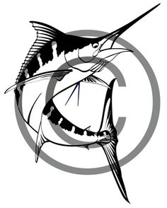 One color custom vector illustration of a jumping blue marlin. Great fort-shirt designs, vinyl decals, websites, boat graphics, signs and more. $15.00