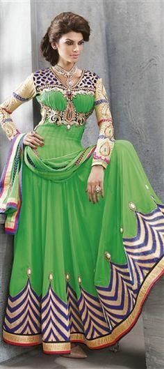 413425, Anarkali Suits, Faux Georgette, Moti, Stone, Valvet, Patch, Lace, Resham, Green Color Family