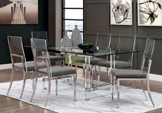 Glass Dining Room Table, Modern Dining Chairs, Dining Table Chairs, Dining Room Furniture, Modern Table, Acrylic Dining Chairs, Room Decor, Inline, Chrome Finish
