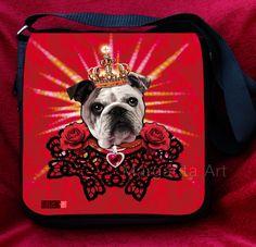 *Hochwertige Tragetasche / Schultertasche mit English Bulldog-Design –   Englische Bulldogge der König.* (Motiv 26)    Wählen Sie bitte eine aus 2 Far