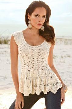 Peplum crochet sweater - Boston Proper