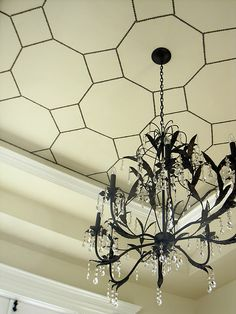 i used nail head strips for this unique treatment on our dining room ceiling for, dining room ideas, home decor, Nailhead Ceiling Ceiling Tiles, Ceiling Decor, Ceiling Design, Ceiling Lights, Wall Decor, Ceiling Painting, Ceiling Chandelier, Black Chandelier, By Any Means Necessary
