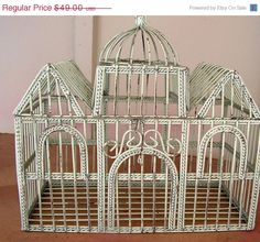 ON SALE Vintage White Wire Bird Cage Decorative Shabby Chic Candle Holder Fairy House