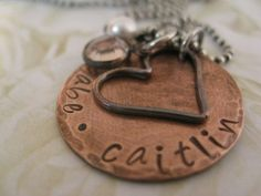 Personalized Rustic Hand Stamped Copper Mommy Necklace by gomommy, $36.00