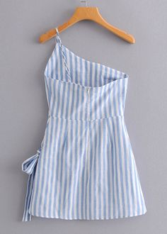 One Shoulder Striped Dress|Disheefashion