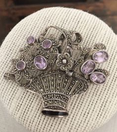 Amethyst Sterling Silver and Marcasite Flower Basket Brooch by Themoonandmouseshop on Etsy