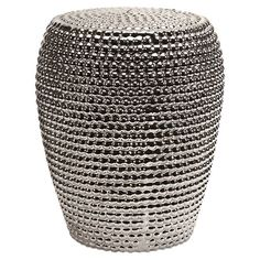 Bring a touch of glamour to your three-season porch or patio with this eye-catching garden stool, showcasing a sleek metallic finish and textured geometric m...