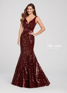 Ellie Wilde - This brilliant, awe-inspiring sleeveless sequin trumpet gown offers a deep V-neckline with an illusion panel, a beaded natural waist, a deep plunging V-back with a lower crisscross detail, a horsehair hem and a sweep train. Sequin Prom Dresses, Sequin Dress, Prom Gowns, Wedding Dresses, Designer Evening Gowns, Evening Dresses, Trumpet Gown, Beaded Gown, Perfect Prom Dress
