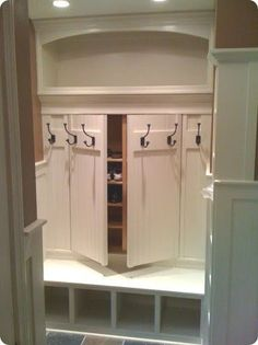 """Awesome """"laundry room storage diy small"""" information is offered on our web pages. Have a look and you wont be sorry you did. Mudroom Laundry Room, Laundry Room Design, Closet Mudroom, Mudrooms With Laundry, Mud Room Lockers, Closet Bench, Entryway Closet, Closet Doors, Secret Rooms"""