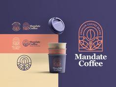 MANDATE COFFEE by Tony on Dribbble Coffee Shop Branding, Coffee Shop Logo, Cafe Branding, Coffee Shop Design, Coffee Packaging, Coffee Bean Logo, Stationery Design, Branding Design, Logo Design