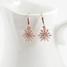 Rose Gold Crystal Earrings, Snowflake Earrings, Fireworks, Petite Drop Earrings by Blucha on Etsy