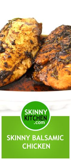 Easy, Skinny Balsamic Rosemary Chicken. It smells wonderful when baking and tastes fantastic! Each serving has 190 calories, 4g fat and 4 Weight Watchers POINTS PLUS. http://www.skinnykitchen.com/recipes/easy-skinny-balsamic-rosemary-chicken/