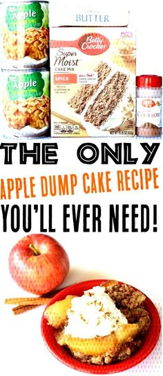 Crockpot Dump Cake Recipes - Easy Apple Spice Slow Cooker Dessert RecipeYou can find Easy apple dessert recipes and more . Crockpot Cake Recipes, Slow Cooker Recipes Dessert, Apple Dessert Recipes, Dump Cake Recipes, Apple Recipes, Snack Recipes, Caramel Apple Dump Cake, Apple Dump Cakes, Spiced Apples
