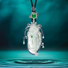 Icy Jadeite 'Guanyin', Jadeite, Sapphire and Diamond Pendant, Alessio Boschi