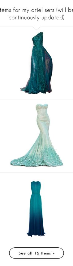 """""""items for my ariel sets (will be continuously updated)"""" by hiimmichelle on Polyvore featuring dresses, gowns, long dresses, vestidos, long blue dress, elie saab, elie saab evening dresses, blue evening dresses, evening dresses and turquoise"""