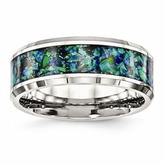 Stainless Steel Polished With Blue Opal Inlay 8mm Men's Ring – Sparkle & Jade