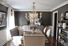 Paint color Kendall Charcoal by Benjamin Moore looks gorgeous in blogger Dear Lillie's Dining Room.