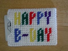 Happy B-Day Gift Card Holder plastic canvas by ShanaysCreation Plastic Canvas Coasters, Plastic Canvas Ornaments, Plastic Canvas Christmas, Plastic Canvas Crafts, Plastic Canvas Patterns, Birthday Gift Cards, Happy Birthday Gifts, Gift Cards Money, Needlepoint
