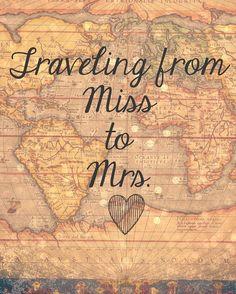 Wedding Quotes : Reizen van Miss naar Mrs. Sign van Sweetness8 op Etsy