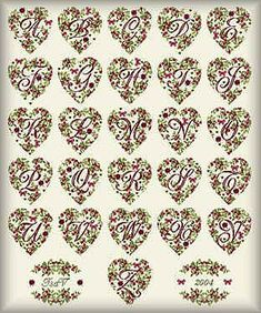 """""""ABC Hearts"""" by Isabelle Vautier, форматы: . Cross Stitch Heart, Cross Stitch Alphabet, Cross Stitch Patterns, Alphabet And Numbers, Clematis, Needlework, Xmas, Letters, Album"""
