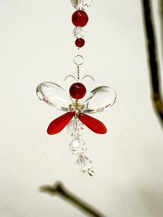 Rear View Mirror Charm Red Dragonfly Suncatcher Swarovski Crystal Suncatcher Car Charm Kids Gift Car Accessories Hanging Crystal Womens Gift