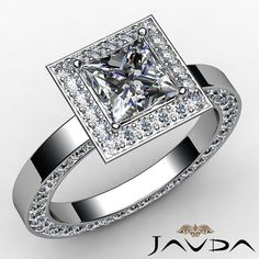 Princess Diamond Engagement Ring Certified by GIA, H Color & SI1 clarity, 14k White Gold (2.27 ct. Total weight.)