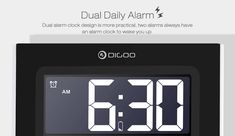 Digoo Time Calendar Format Switchable Temperature Humidity Display Dual Alarms Snooze Function NAP LED Backlight Alarm Clock with 2 USB Alarm Clock Design, Temperature And Humidity, Bars For Home, Home Textile, Housekeeping, Calendar, Home And Garden, Usb, Display