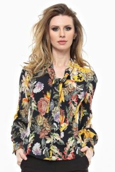 Camasa imprimata, guler prelungit gen cravata, maneca lunga si mansete inalte. Gen, Floral Tops, Costumes, Retro, Fashion, Tricot, Moda, Top Flowers, Dress Up Outfits