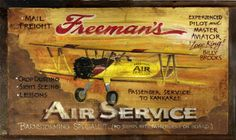 Vintage Signs | Retro Aviation Sign - Distressed Wood