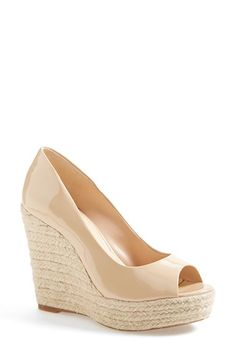 Free shipping and returns on Vince Camuto 'Totsi' Peep Toe Espadrille Wedge (Women) at Nordstrom.com. Blending the best of the season's trends, this peep-toe sandal from Vince Camuto features a jute-wrapped wedge heel and platform topped by a soft suede or glossy patent-leather upper—sure to become your go-to warm-weather shoe.