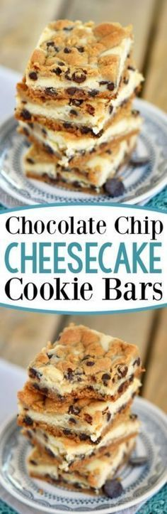 Chocolate Chip Cheesecake Cookie Bars made with just four ingredients! This easy dessert recipe will satisfy all your cravings!
