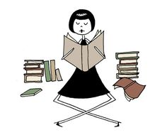 """""""Emma loves to read"""" by flapperdoodle // Book lover librarian // 4x6 art print // $5.00 via Etsy."""
