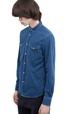 Acne Studios Ewing washed denim is a slim Western style denim shirt. Denim Shirt Style, Washed Denim, Fall 2016, Acne Studios, Fall Winter, Slim, Jackets, Shirts, Tops