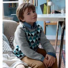 Breipakket jongens trui geruit incl.gratis breipatroon van Phildar.