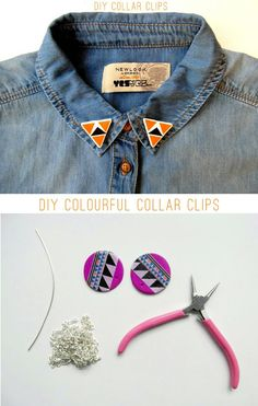 DIY colourful collar clips!