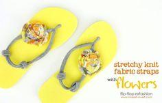 Flip-Flop Refashion: Stretchy Knit Straps with Fabric Flowers Flip Flops Diy, Flip Flop Sandals, Flipflops, Diy Vetement, Old T Shirts, Diy Accessories, Diy Clothing, Crafts To Do, Refashion