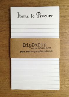 Items to Procure Grocery Shopping List Handmade Notepad Free Shipping #notepad #etsy