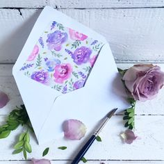 watercolor watercolor aquarela    aquarelle pintura peintre painting floral envelope Briefumschlag rosen roses violett pink schreiben malen Brief