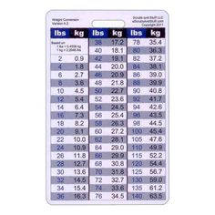 General Weight Conversion Badge Card Vertical Accessory for Nurse Paramedic EMT for ID Badge Clip Strap or Reel