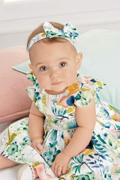 Buy Floral Print Dress, Knickers And Headband Set (0mths-2yrs) from Next Australia